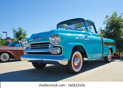 WESTLAKE, TEXAS - OCTOBER 19: A 1958 Chevrolet Apache pickup truck is on display at the 3rd Annual Westlake Classic Car Show on October 19, 2013 in Westlake, Texas.