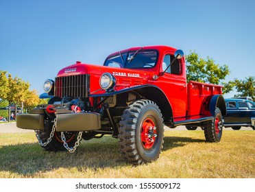WESTLAKE, TEXAS - OCTOBER 19, 2019: Front side view of a red vintage 1948 Dodge Power Wagon classic truck.
