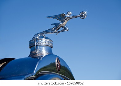 WESTLAKE, TEXAS - OCTOBER 19: Hood ornament of a 1929 Packard automobile on display at the 3rd Annual Westlake Classic Car Show on October 19, 2013 in Westlake, Texas.