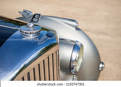 Westlake, Texas - October 20, 2018: Hood ornament details of a silver 1952 Bentley R Type Saloon classic car.