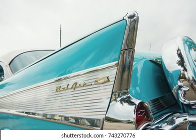 Westlake, Texas - October 21, 2017: Tail fin details of an aqua color 1957 Chevrolet Bel Air Hardtop classic car.