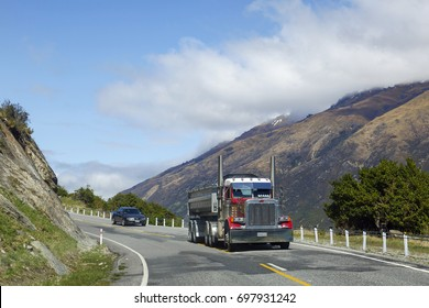 Westland, New Zealand: October 17, 2015: Freight transportation on the mountain roads in South Island, New Zealand.