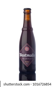 "Westmalle Trappist Beer Bottle Isolated White Background  ""illustrative editorial"""