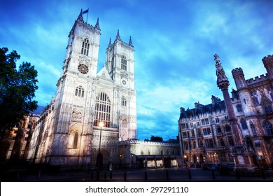 Westminster Abbey church facade at night, London UK. One of the symbols of England, Great Britain