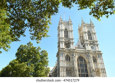 Westminster Abbey in London, UK on a sunny day with blue skies