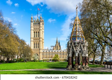 Westminster Abbey viewed from Victoria tower gardens, London, UK.