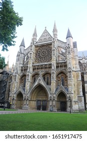 Westminster Abbey/London/England/United Kingdom-September 2017: A clear and bright view of the famous landmark of London Westminster Abbey near the river Thames