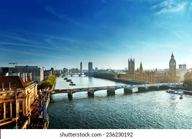 Westminster aerial view, London, UK