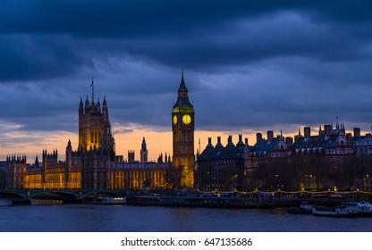 Westminster and Big Ben after sunset