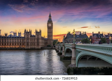 Westminster and the Big Ben just after sunset in London, United Kingdom