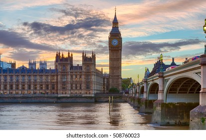 Westminster and Big Ben at sunset, London