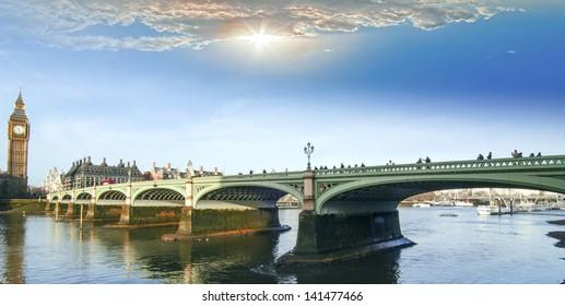 Westminster Bridge and the Big Ben.