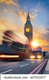 Westminster Bridge and Big Ben during evening rush hour, London, United Kingdom