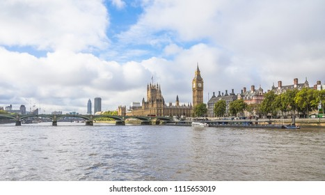 Westminster Bridge, Big Ben and the Houses of Parliament in London England