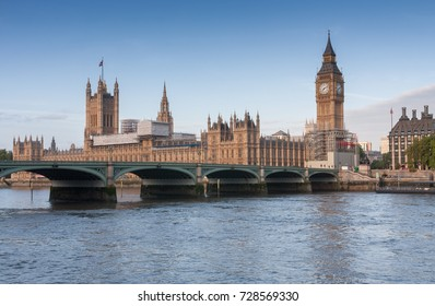 Westminster bridge, Big Ben and Palace of Westminster in the morning, London, England.