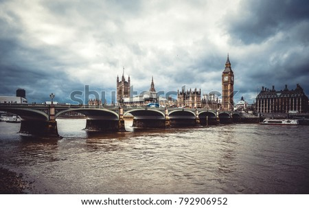 Westminster bridge in London. Great Big Ben parliament architecture.