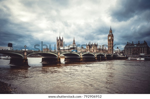 Westminster bridge in London. Great Big Ben parliament architecture.