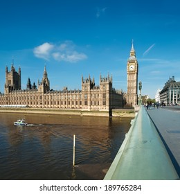 Westminster bridge in London with a view towards London Parlamend and Big Ben, square composition, text space