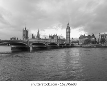 Westminster Bridge panorama with the Houses of Parliament and Big Ben in London UK in black and white