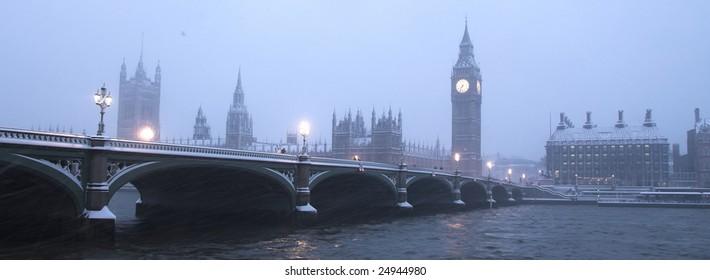 Westminster Bridge in Snow