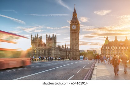 Westminster Bridge at sunny day