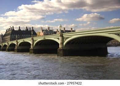 Westminster Bridge, which crosses the Thames in London, England, on a bright sunny day.