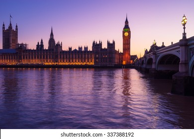 Westminster, the British parliament, and Westminster bridge captured from the South Bank