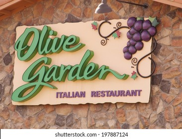 WESTMINSTER, COLORADO/U.S.A. - APRIL 15, 2012:  The exterior of an Olive Garden restaurant, showing the Olive Garden sign and logo.