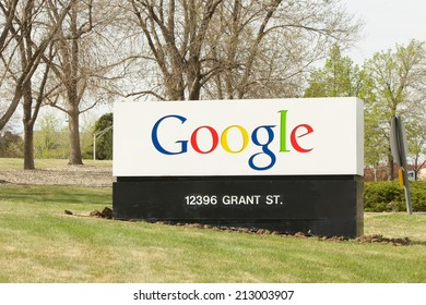 WESTMINSTER, COLORADO/U.S.A. - MAY 13, 2014: Google receiving sign at the entrance to the company in Colorado.