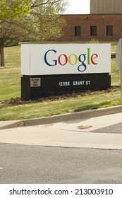 WESTMINSTER, COLORADO/U.S.A. - MAY 13, 2014: Google sign outside the entrance drive into the company.