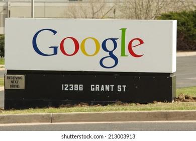 WESTMINSTER, COLORADO/U.S.A. - MAY 13, 2014: Google sign at Google Incorporated in Westminster, Colorado.