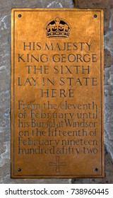 WESTMINSTER HALL, LONDON, UK - JUNE 24 2014: Brass Plaque commemorating lying in state of George VI.