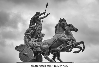 Westminster, London, England -  January 26 2020: The famous statue of Boadicea and Her Daughters in bronze. Created by sculptor Thomas Thornycroft and erected in 1902.