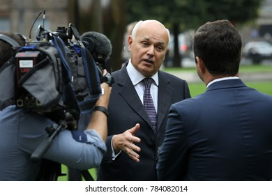 Westminster, London, UK. September 9, 2017. Conservative Party politician and pro-Brexit spokesman Iain Duncan Smith gives a TV interview at Westminster.