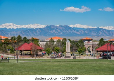 Westminster, MAY 5: Building with snow mountain as background on MAY 5, 2017 at Westminster, Colorado