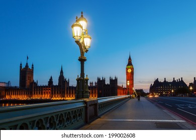 Westminster Palace and Big Ben with blue night sky