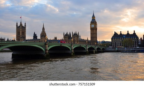 Westminster Palace and Big Ben at sunset, London, Great Britain