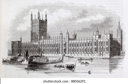 Westminster palace old view, London, By unidentified author, published on Magasin Pittoresque, Paris, 1844