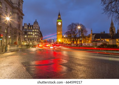 Westminster and traffic during rush hour at night