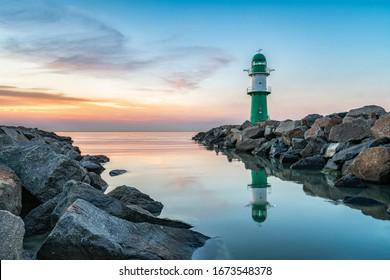 Westmole lighthouse in Warnemünde near Rostock, Germany