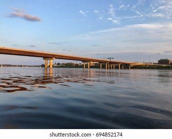 Westmorland Bridge over the Saint John River at sunset near downtown Fredericton, New Brunswick in The Maritimes or Atlantic Canada