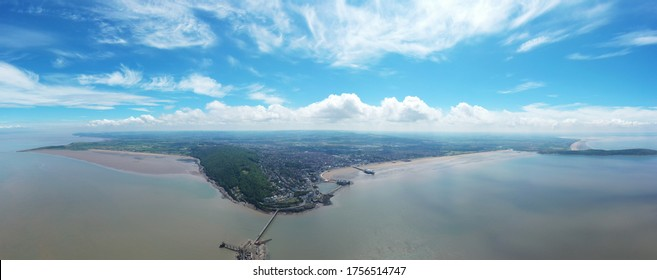 Weston Super Mare panorama from drone