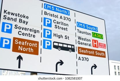 Weston Super Mare road sign showing directions to various places