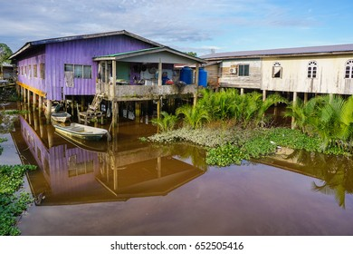 Weston,Beaufort,Sabah-May 28,2017:Floating fishing village in Weston,Beaufort,Sabah,Borneo.Weston is treasured with a wide variety of wildlife,such as Borneo Proboscis Monkeys & Silver Leaf Monkeys.