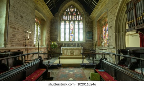 Weston-in-Gordano, England - Feb 6, 2018: St Peter and St Paul's Church - Chancel Altar
