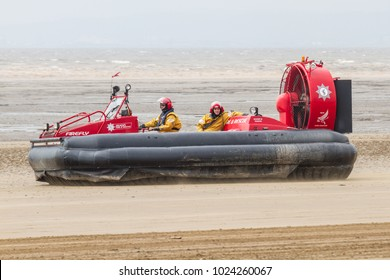 Weston-Super-Mare, Avon/UK - June 18 2016: Avon Fire & Rescue Hovercraft