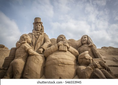 WESTON-SUPER-MARE, ENGLAND - SEPTEMBER 14, 2014: Sand Sculpture Festival. Based on the film Charlie and the Chocolate Factory.