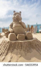 WESTON-SUPER-MARE, ENGLAND - SEPTEMBER 14, 2014: Sand Sculpture Festival. Based on the book series and cartoon Winnie the Pooh.