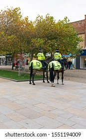 WESTON-SUPER-MARE, UK - NOVEMBER 5, 2019: Mounted police officers on patrol in the town centre