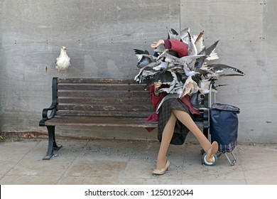 "WESTON-SUPER-MARE, UK - SEPTEMBER 10, 2015: A sculpture of birds attacking a woman in a scene reminiscent of Hitchcock's movie ""The Birds"" at Dismaland, an exhibition curated by the artist Banksy."